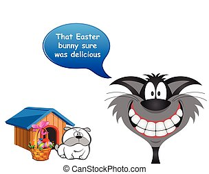 Cat devoured the Easter bunny - Comical cat announcing that ...