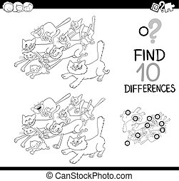 cat difference game coloring page - Black and White Cartoon...