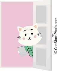 Cat Doc Vet Door Appointment Illustration