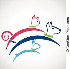 cat dog and rabbit jumping logo