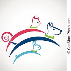 Cat dog and rabbit logo vector - Pets jumping colorful icon...
