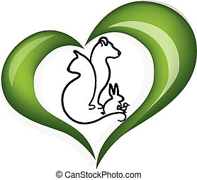 Cat dog and rabbit love heart logo vector