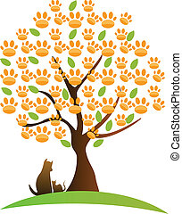 Cat , dog and tree logo - Cat , dog and footprint tree logo...