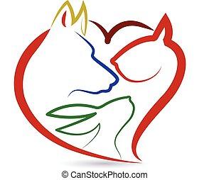 Cat dog bird and rabbit logo - Cat dog bird and rabbit heart...