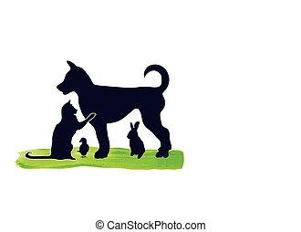 Cat dog bird rabbit logo - Pets cat dog rabbit and parrot....