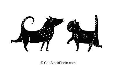 Cat Dog Black and White