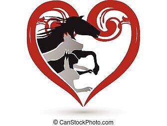 Cat dog horse and rabbit logo