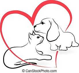 Cat dog love heart logo - Cat and dog love heart shape...