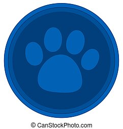 cat dog paw blue button