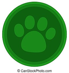 cat dog paw green button