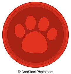 cat dog paw red button
