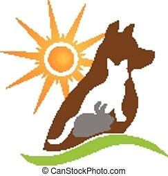 Cat dog rabbit silhouettes logo