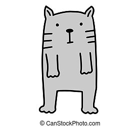 Cat doodle. Hand drawn lines cartoon character vector illustration isolated on white background.