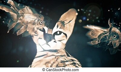 Cat Dreams. Floating fish and lens flare