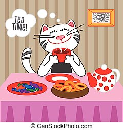 Cat drinking hot tea with sweets and dryers, vector...