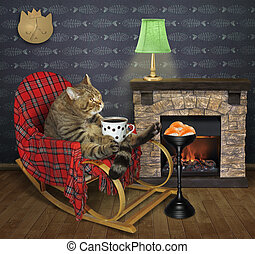 Cat drinks coffee by a fireplace