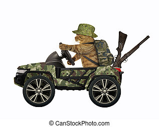 Cat drives military suv 2