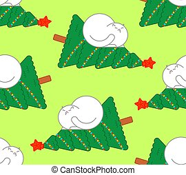 Cat dropped christmas tree pattern seamless. xmas vector background
