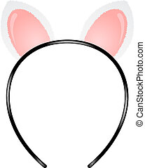 Cat ears headband - Headband with cat ears on white...