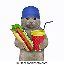 Cat eating a hot dog with coffee 2