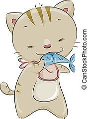 Cat Eating Fish - Illustration of a Cute Cat Wearing a Bib...