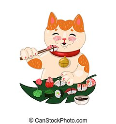 Cat eats sushi and rolls Isolated on a white background. Vector graphics.
