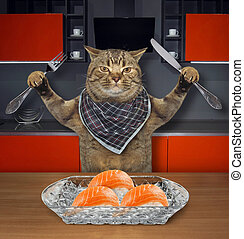 Cat eats sushi in the kitchen 2