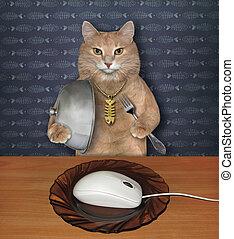 Cat eats white computer mouse 3
