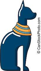 Cat egypt icon, cartoon style