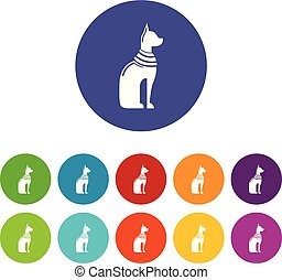 Cat egypt icons set vector color