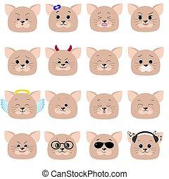 Cat emoticon, cat face set.