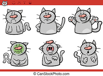 cat emotions cartoon illustration set - Cartoon Illustration...