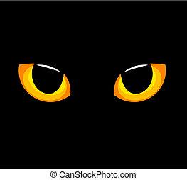 Cat eyes - Hypnotic yellow cat eyes in darkness. Vector...