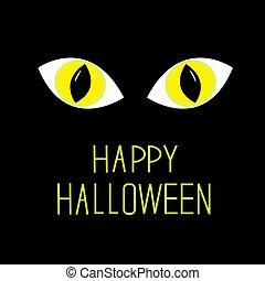 Cat eyes in dark night. Happy Halloween card.