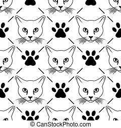 Cat face and paws seamless pattern - Vector seamless black...