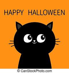 cat face halloween orange