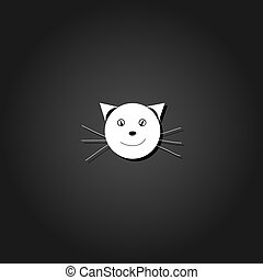 Cat face icon flat.