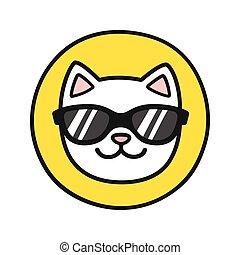 Cat face in sunglasses
