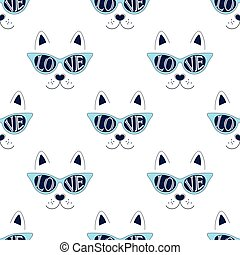 cat face pattern on white