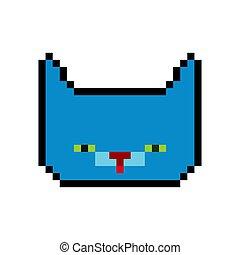 Cat face pixel art. Pet head pixelated. Old game graphics. 8 bit Vector illustration