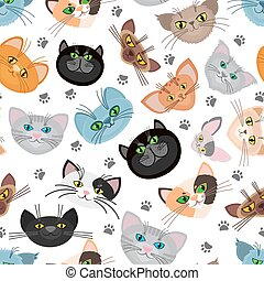 Cat face vector background with paws