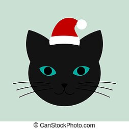 Cat face with blue eyes and Santa hat icon