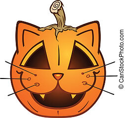 Cat Faced Jack O Lantern Cartoon - A pumpkin with a cat face...