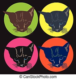 Cat Faces Vector Set