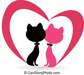 Cat fallen in love with pink heart