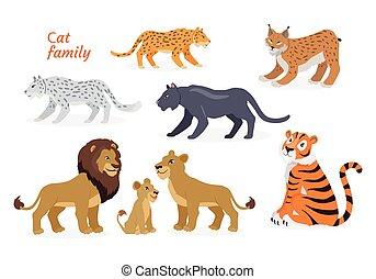 Cat family. Felidae. Pantherinae Tiger Lion Jaguar - Cat ...