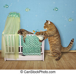 Cat feeds his kitten
