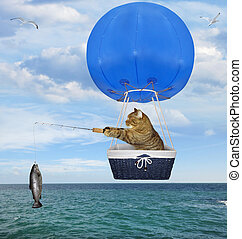 Cat fisher in a blue hot air balloon 2