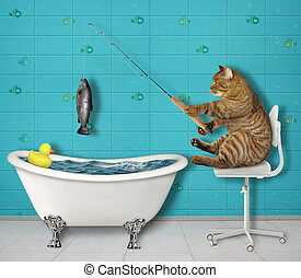 Cat fishing in bathtub 2 - The beige cat fisher is sitting ...