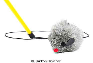 Cat Fishing Toy - Mouse on Rope with Pole on White Background